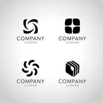 Black company logo collection vector Free Vector