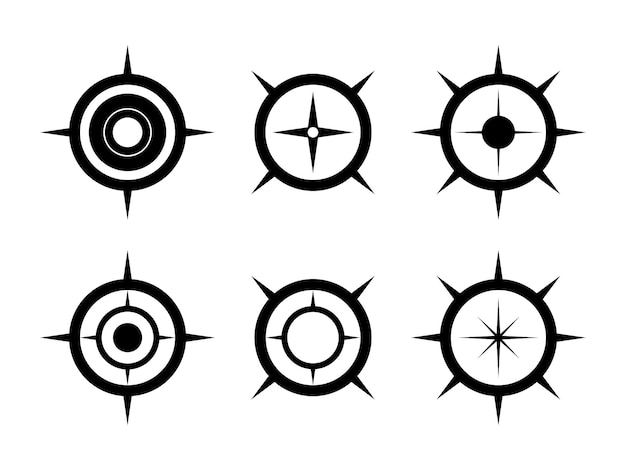 Black compass symbol set. north arrow for mapping.