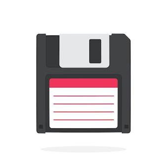 黒のコンピュータフロッピーディスク磁気ディスクドライブフラットベクトル図