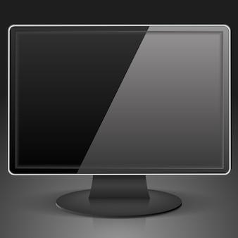 Черный компьютерный монитор, иллюстрация