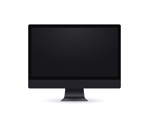 Black computer screen, realistic thin frame monitor mockup in modern style with empty screen in front view isolated on white.