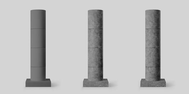 灰色の背景に分離された正方形の台座と亀裂のある黒いコンクリートの円筒形の柱。インテリアや橋の建設のためのリアルなダークセメントの3dピラー。ベクトルテクスチャコンクリートポールベース