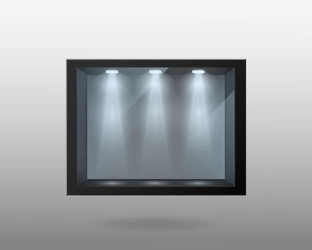 이중 유리 및 조명 템플릿이 있는 검은색 컨테이너