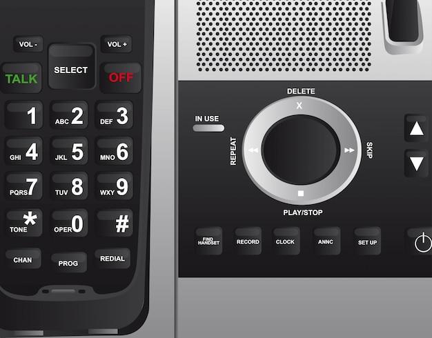 Black cordless phone background close up