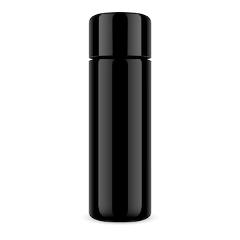 Black cosmetic bottle dry shampoo jar