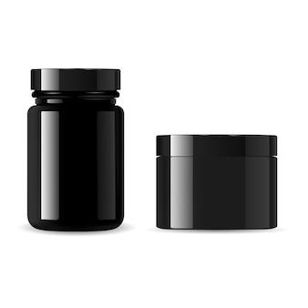 검은 화장품 병 세트. 크림 항아리. 분말 또는 왁스 용 광택 유리 용기. 유청 단백질 분말 용 스포츠 보충제 포장재. 플라스틱 캔, 절연