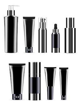 Black cosmetic bottle set. realistic product jar.