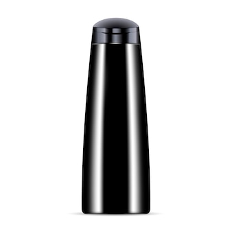 Black cosmetic bottle for shampoo