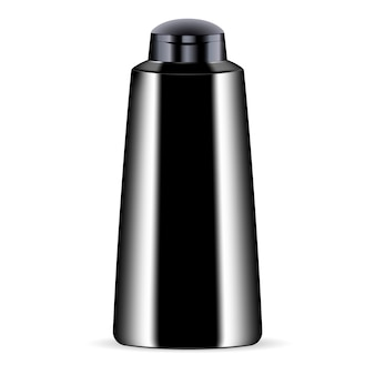 Black cosmetic bottle for shower gel