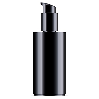 Black cosmetic bottle with pump dispenser lid