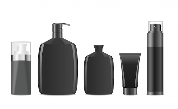 Black cosmetic containers for man