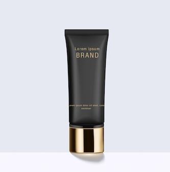 Черная косметическая кремовая емкость и золотая крышка