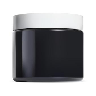 검은색 화장품 크림 항아리. 광택 냄비 흰색 플라스틱 캡. 메이크업은 샘플, 둥근 얼굴 버터 템플릿 3d 벡터 일러스트를 조롱할 수 있습니다.