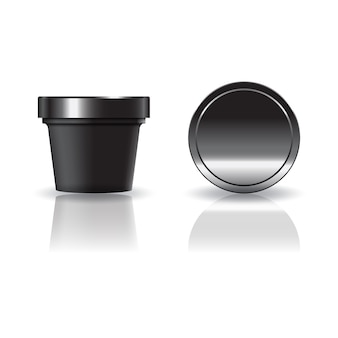 Black cosmetic or food round cup with lid.