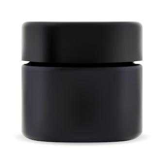 검은색 화장품 용기. 화장품 크림 패키지 모형. 스크럽용 나사 뚜껑이 있는 작은 플라스틱 병. 현대적인 아름다움 상자, 젤 또는 왁스 용기. 프리미엄 숯 크림 용기