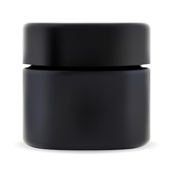 Black cosmetic jar. cosmetic cream package mockup. small plastic bottle with screw lid for scrub. modern beauty box, gel or wax container. premium charcoal cream jar