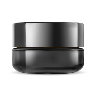 Black cosmetic jar. glass cream packaging mockup