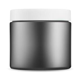 검은색 화장품 용기. 광택 플라스틱 크림 패키지, 흰색 뚜껑 병 모형. 작은 미용 버터 용기, 피부 분말, 왁스, 목욕 제품, 광택 템플릿을 위한 현실적인 원형 상자