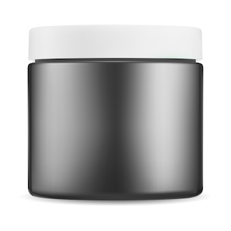 Black cosmetic jar. gloss plastic cream package, white lid bottle mockup. small beauty butter container, realistic round box for skin powder, wax, bath product, glossy template