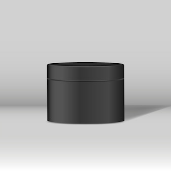 Black cosmetic jar mockup