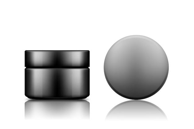 背景ローション、クリーム、ムース、パウダーから分離されたキャップトップビューモックアップと黒の化粧品瓶