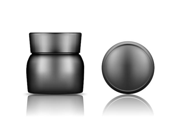背景から分離されたキャップトップビューモックアップ付きの黒い化粧品瓶:ローション、クリーム、パウダー