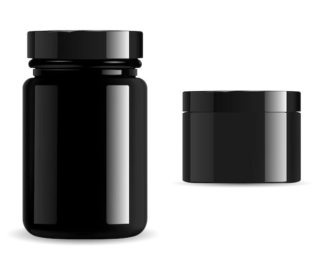검은색 화장품 패키지, 비타민 항아리 모형 세트. 포장 용기, 광택 유리 또는 플라스틱 3d 벡터 템플릿을 보충합니다. 프리미엄 제품 캔, 스킨왁스, 숯
