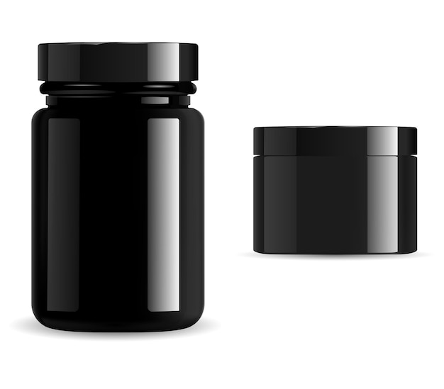 Black cosmetic package, vitamin jar mockup set. supplement packaging container, gloss glass or plastic 3d vector template. premium product can, skin wax, charcoal