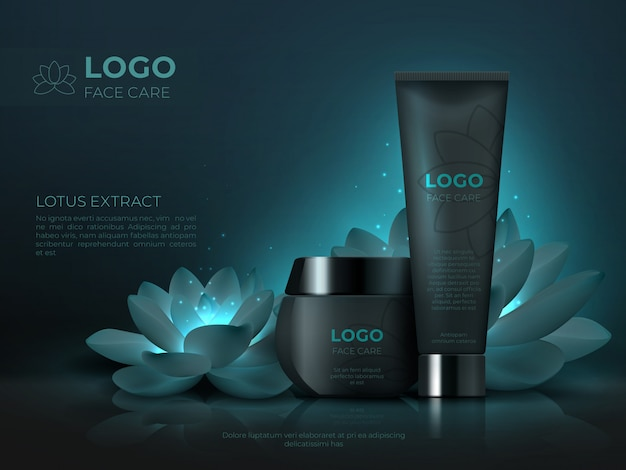Черный косметический продукт. роскошный косметический крем для ухода за кожей реалистичный 3d макияж трубка. косметический шаблон продвижения