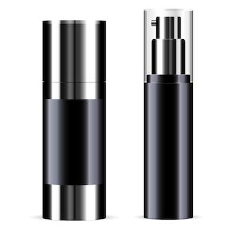 黒の化粧品スプレーボトル。トナー製品チューブ。ポンプのパッケージデザイン。ミストエッセンステンプレート、医療ディスペンサー。ラウンドエアエアゾールヘアスプレー、ビューティーブランク