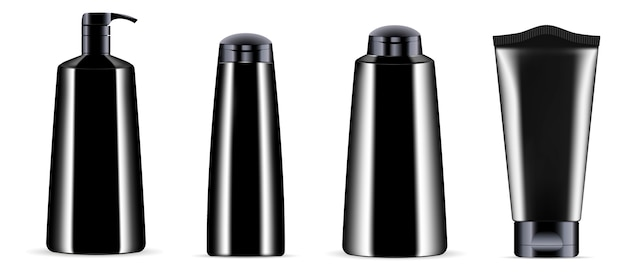 Black cosmetics bottle jar set whith black caps.