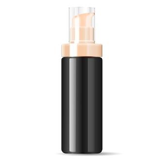 Black cosmetics cream dispenser pump bottle