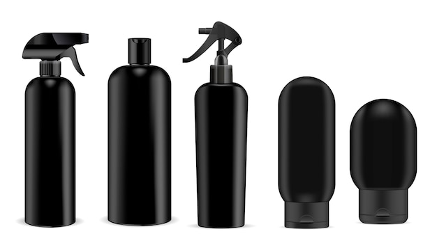 Black cosmetics sprayer and shampoo, gel bottle