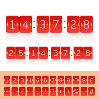 黒のカウントダウンタイマーとスコアボード番号。ベクトルeps10イラスト