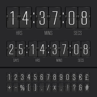 Black countdown timer and scoreboard numbers