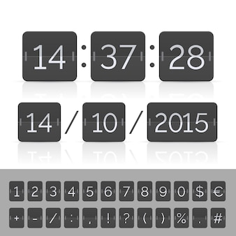 Black countdown timer and scoreboard numbers.