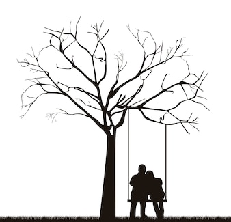 Black couple under tree over swing vector illustration