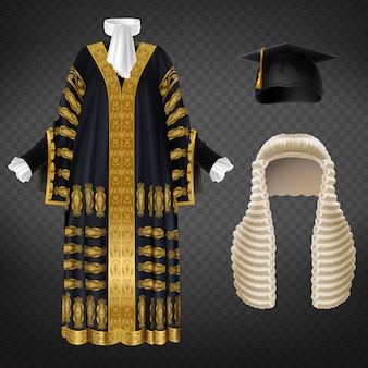 Black court gown with gold decorative embroidery, long wig with curls and mortarboard cap