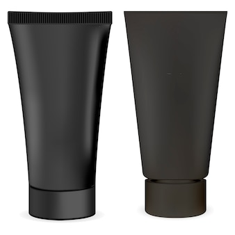 Black cream tube. body cosmetic package