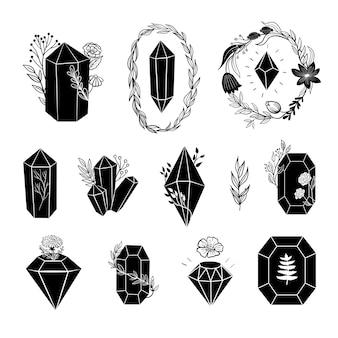 Black crystals diamonds set vector collection with minerals gemstones line art illustration