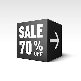 Шаблон баннера black cube для праздничной распродажи. скидка 70%