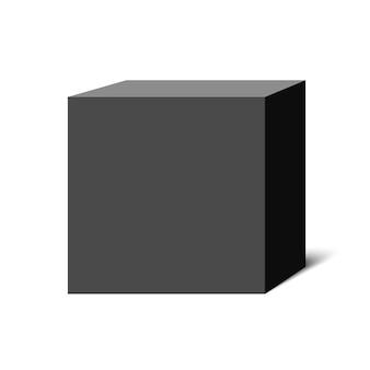 Черный куб. квадратная коробка. иллюстрации.