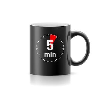 Черная чашка с таймером на фоне