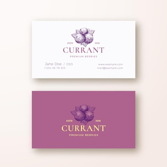 Black currant abstract vector logo and business card template