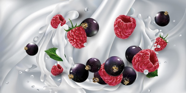 Black currants and raspberries in a splash from a stream of pouring milk. realistic illustration.