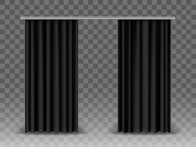 Черные шторы, изолированные на прозрачном фоне. реалистичные шторы, висящие на металлическом стержне
