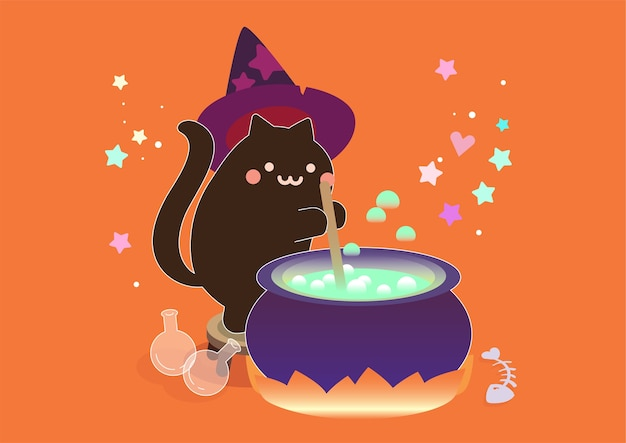 Black cute cat witch with magic cauldron witchcraft