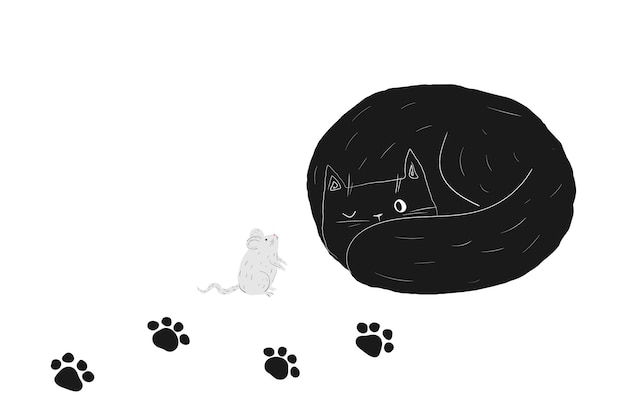 Black cute doodle halloween cat sleeping kawaii fat kitty and mouse in hand drawn style
