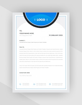 Black & cyan  abstract letterhead template design.