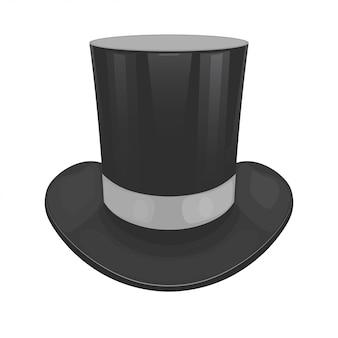 흰색 배경에 검은 색 실린더 모자
